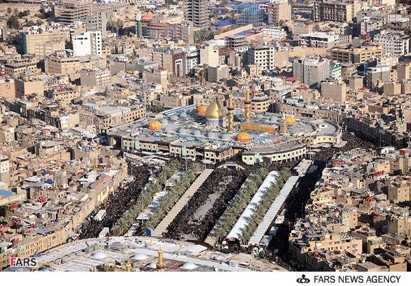 تصاویر هوایی از جمعیت میلیونی زائران اربعین