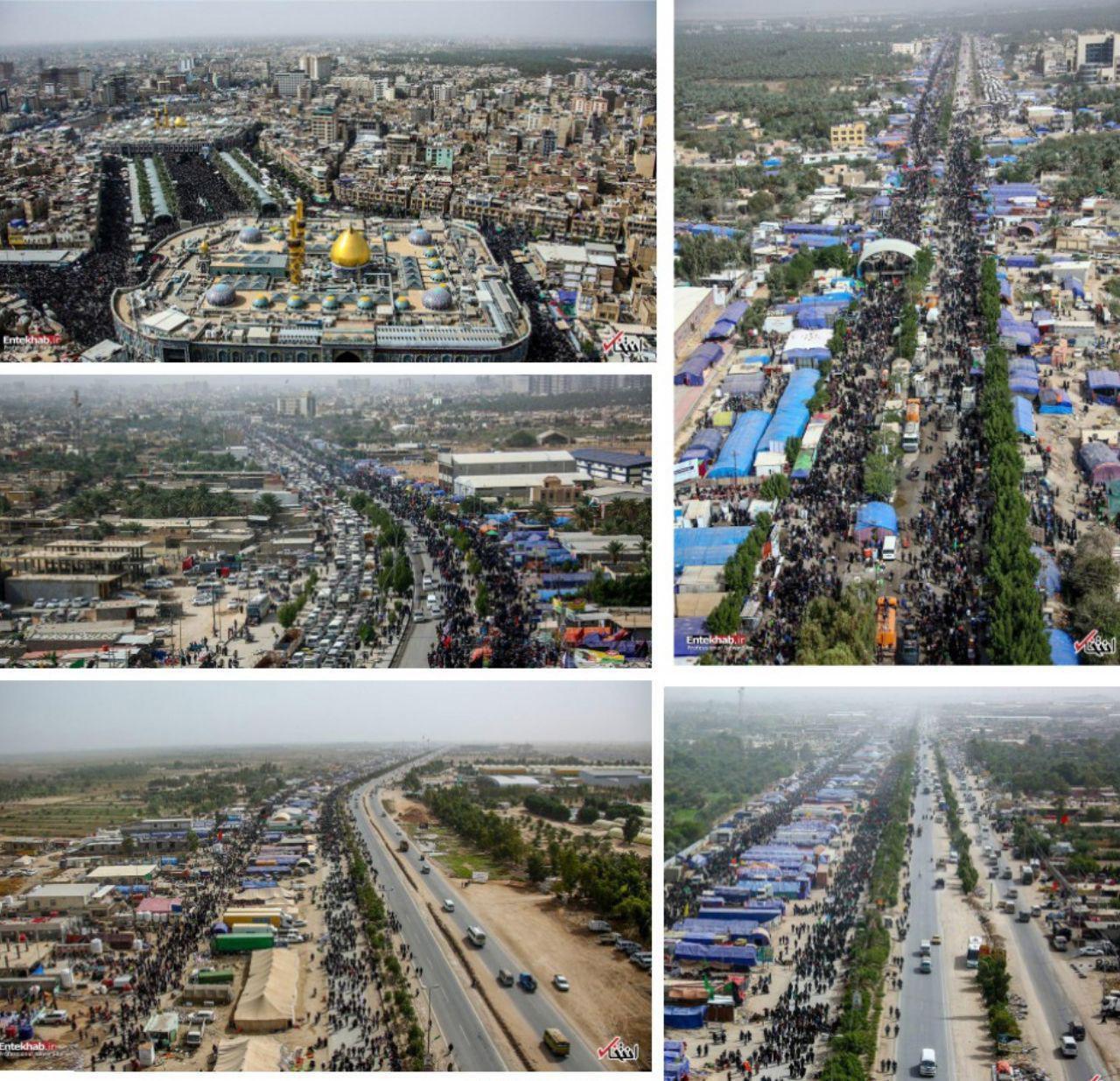 تصویر هوایی از کربلای معلی و پیاده روی اربعین حسینی